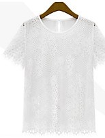 Women's Sexy Casual Lace Cute Plus Sizes Inelastic Short Sleeve Regular T-shirt (Lace)