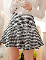 Women's Casual Stretchy Medium Mini Skirts (Cotton/Knitwear)