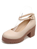 Women's Shoes Chunky Heel Heels/Platform/Round Toe Pumps/Heels Dress Blue/Pink/White/Beige