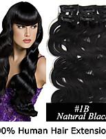 2 ensemble 20inch 8pcs / set clip-in cheveux remy extensions de cheveux humains vague de corps de 100g 8 couleurs pour la beauté des