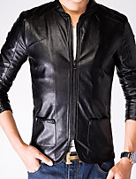 Men's Casual Long Sleeve Regular Jacket (Calfskin)
