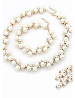 Women's Fashion Elegant Rhinestone Necklace Bracelet Earring Sets Alloy Wedding Jewelry Set