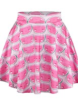 PinkQueen Women's Polyester/Spandex  Watermelon Printed Pleated Skirt Short Mini Skirt