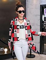 Women's Casual/Print Thin Long Sleeve Long Coat (Cotton Blends/Organic Cotton)