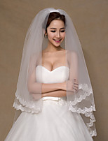 Wedding Veil Two-tier Elbow Veils Lace Applique Edge