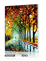 DIY Digital Oil Painting With Solid Wooden Frame Family Fun Painting All By Myself      The Autumn Rain Road5043