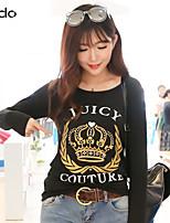 Damen T-Shirt Baumwolle Langarm Rundhalsausschnitt