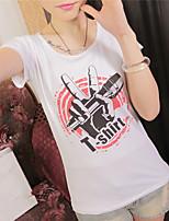 Women's Print Pink/Black/Yellow T-shirt , Round Neck Short Sleeve