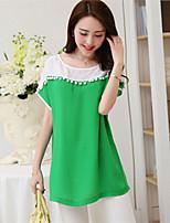 Women's Casual Inelastic Short Sleeve Long Blouse (Chiffon)