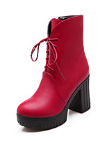 Women's Shoes Stiletto Heel Combat Boots/Round Toe Boots Office & Career/Casual Black/Red/White
