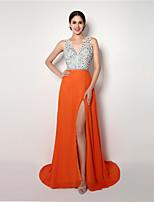 저녁 정장파티 드레스 - 오렌지 A라인 바닥 길이 V넥 쉬폰