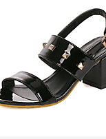 Women's Shoes Faux Leather Chunky Heel Open Toe Sandals Casual Black/White