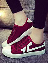 Women's Shoes Fabric Flat Heel Comfort/Round Toe Fashion Sneakers  Black/Red/White