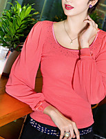 Women's Solid Red/Brown/Green Blouse , Round Neck Long Sleeve