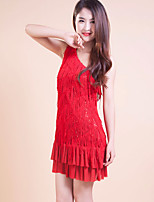 Latin Dance Dresses Women's/Children's Performance/Training Polyester Tassel(s) 1 Piece Red