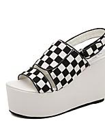 Women's Shoes Denim Wedge Heel Wedges/Open Toe Sandals Casual Black/Gray
