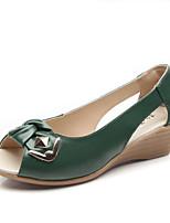 Chaussures Femme Cuir Talon Bas Bout Ouvert/Confort Sandales Extérieure/Habillé/Décontracté Noir/Vert