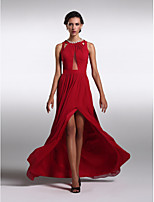 Formal Evening Dress - Burgundy Sheath/Column Jewel Floor-length Chiffon