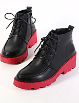 Women's Shoes  Chunky Heel Round Toe Boots Casual Black/Red
