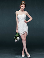 スレンダーライン ウェディングドレス ホワイト レース ハートカット ショート/ミニ