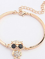 Women's Black Eyes Cute Owl Alloy Chain With  Rhinestone Bracelet