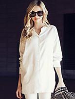 Women's Stand Shirt , Cotton/Linen Long Sleeve