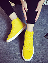 Women's Shoes Canvas Flat Heel Comfort/Round Toe Flats/Fashion Sneakers Outdoor/Casual Yellow/Purple/Red
