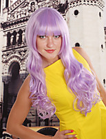 Women Synthetic Purple Wig Wavy 20 Inch