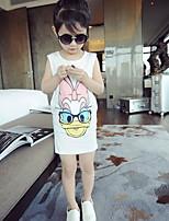 Girls Cartoon Cotton Sleeveless Dress