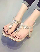 Women's Shoes Chunky Heel Round Toe Sandals Casual Silver/Gold