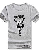 Herren Freizeit/Büro/Sport T-Shirt  -  Druck Kurz Baumwollmischung/Elastisch