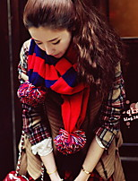Women Red Stripe Blue Stitching Color  Long Wool Scarf