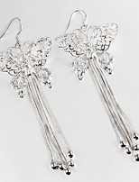 Wedding Dress Butterfly Design Silver Plated Drop Earrings for Lady