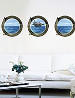3 Pcs Ocean Aircraft Carrier Window PVC Wall Sticker Wall Decals