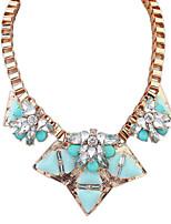 Women's European Style Fashion Imitation Crystal Flower Alloy Acrylic Necklace