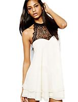 Women's Sexy Casual Lace Cute Plus Sizes Inelastic Sleeveless Regular Blouse (Chiffon/Lace)