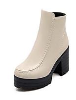 Chaussures Femme Similicuir Gros Talon Bout Arrondi/Bottes à la Mode Bottes Habillé Noir/Marron/Rouge/Beige