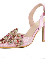 Women's Shoes Tulle Stiletto Heel Heels/Pointed Toe Pumps/Heels Dress/Casual Pink/Beige