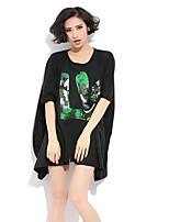 Women's Vintage/Casual Micro-elastic Large Size Short Sleeve Long T-shirt (Cotton)