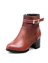 Women's Shoes Chunky Heel Fashion Boots/Pointed Toe Boots Office & Career/Dress/Casual Black/Brown/Yellow/Burgundy