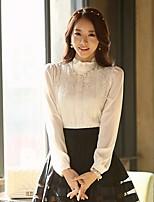 Damen Bluse  -  Blume Chiffon Langarm Ständer