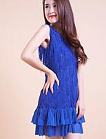 Latin Dance Dresses Women's/Children's Performance/Training Polyester Tassel(s) 1 Piece Blue