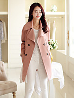Women's Solid Pink/Red Coat , Casual Long Sleeve Cotton/Polyester