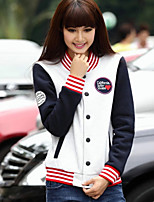Women's Red/White Jackets , Casual Long Sleeve