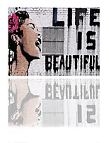 VISUAL STAR® Life Is Beautiful Bansky Pop Street Art Printing on Canvas Ready to Hang