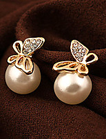 Women's Fashion Sweet Butterfly Alloy Imitation Pearl Rhinestone Stud Earrings