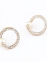 Women's European style Fashion Alloy Pearl Rhinestone Stud Earrings