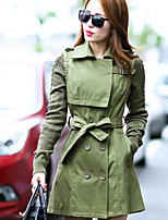 Women's Solid Black/Green/Multi-color Trench Coat , Casual/Plus Sizes Long Sleeve Polyester Pocket/Button