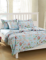 H&C 100% Cotton 1200TC Duvet Cover Set 4-Piece Pink And White Flowers Pattern Blue Background  HT-001