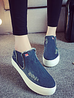 Zapatos de mujer Vaquero Plataforma Plataforma/Desteñido/Creepers/Punta Redonda Sneakers a la Moda/Mocasines Exterior/CasualNegro/Azul